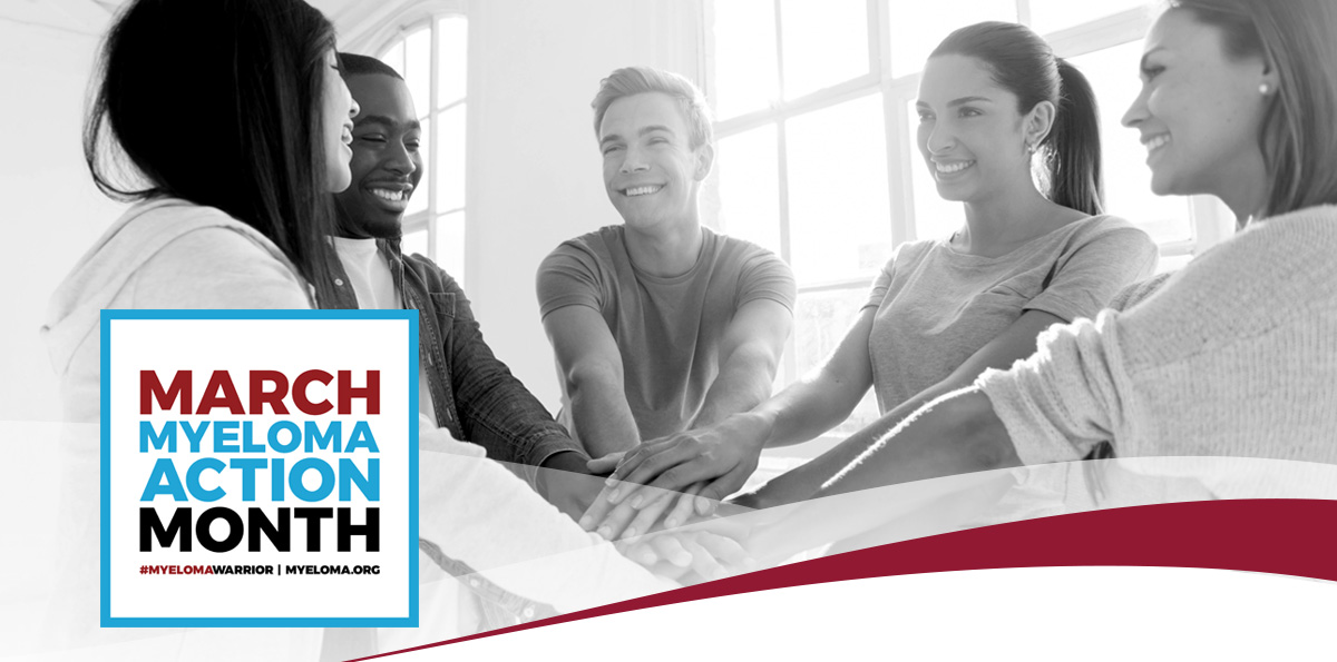 March Myeloma Action Month banner, people holding hands in a circle