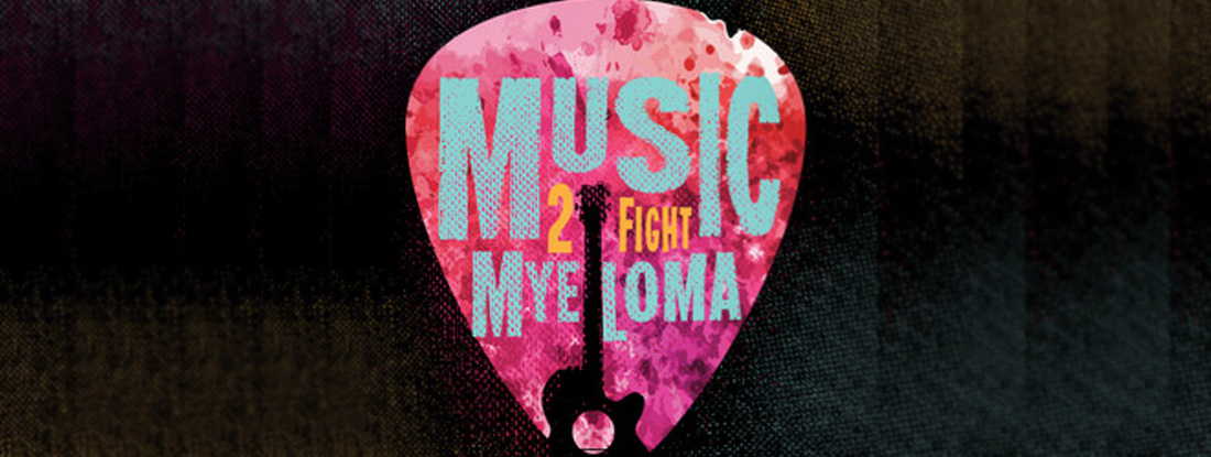 "Guitar pick ""Music 2 Fight Myeloma"" banner"