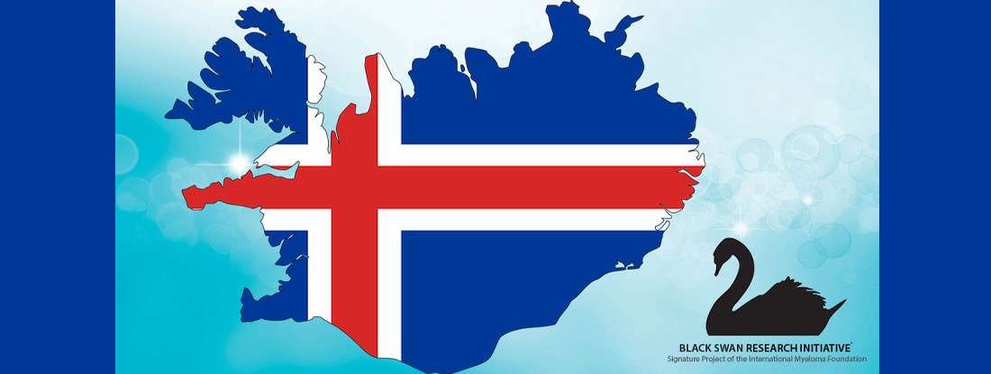 Icelandic flag covering a map of Iceland with the Black Swan Research Initiative logo.