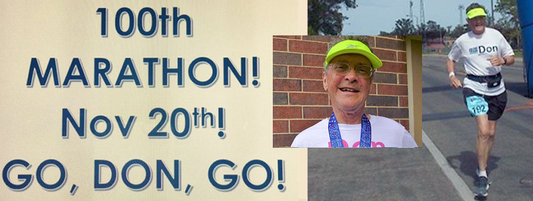 100th Marathon text overlaid on picture of Don Wright running