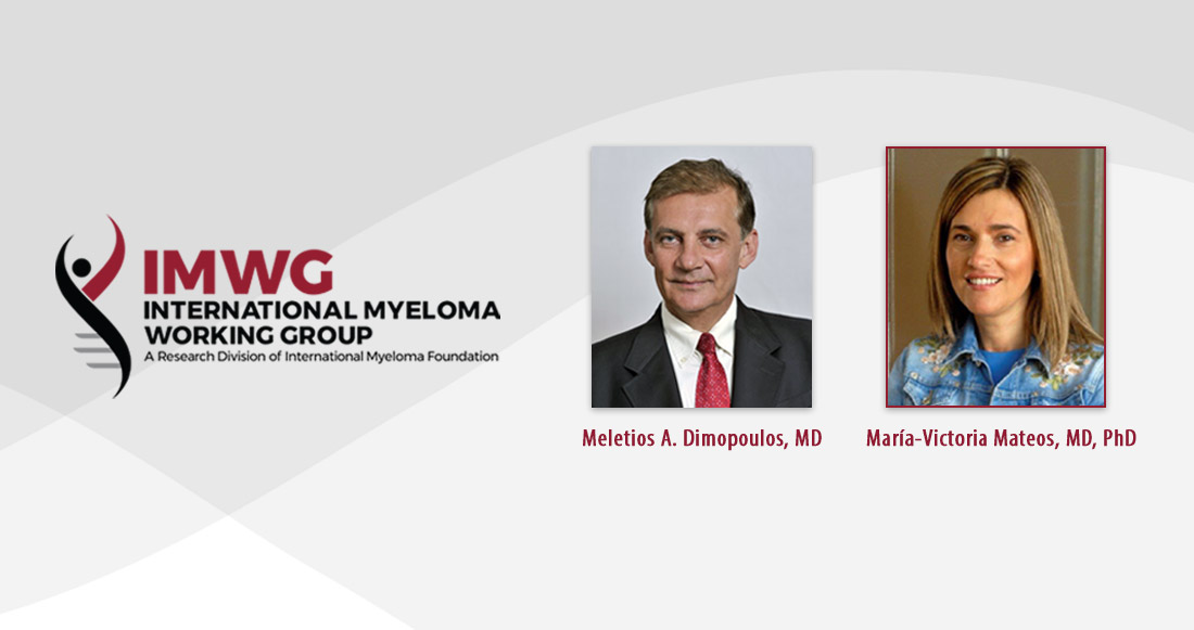 Drs. Maria V. Mateos and Meletios Dimopoulos honored at the 2019 IMF International Myeloma Working Group Summit