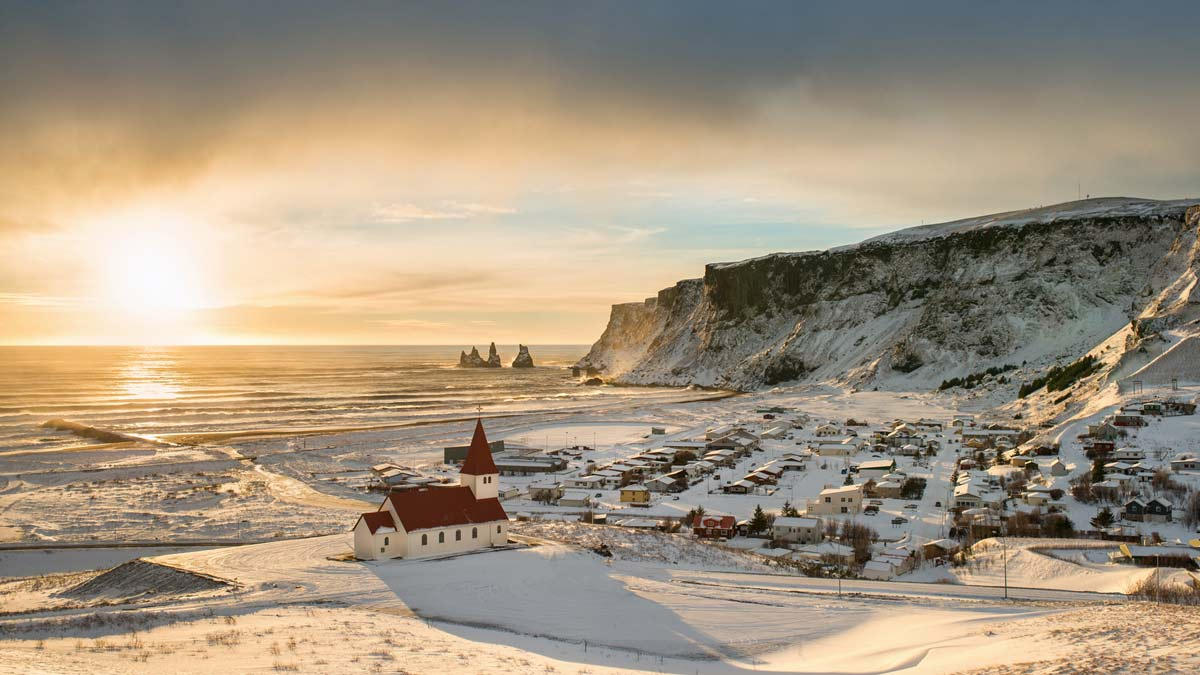 Iceland Winter Coast Landscape