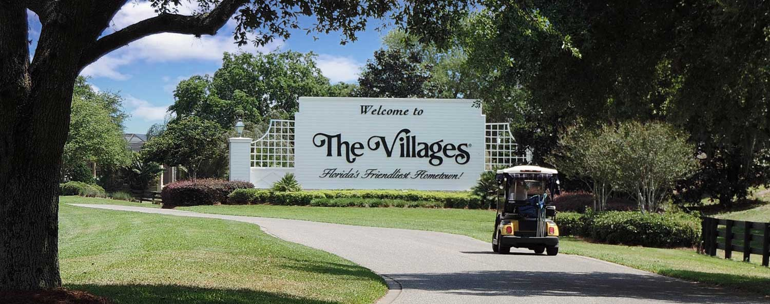 villages welcome sign