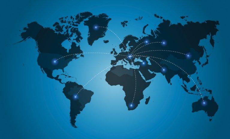 flat map of world
