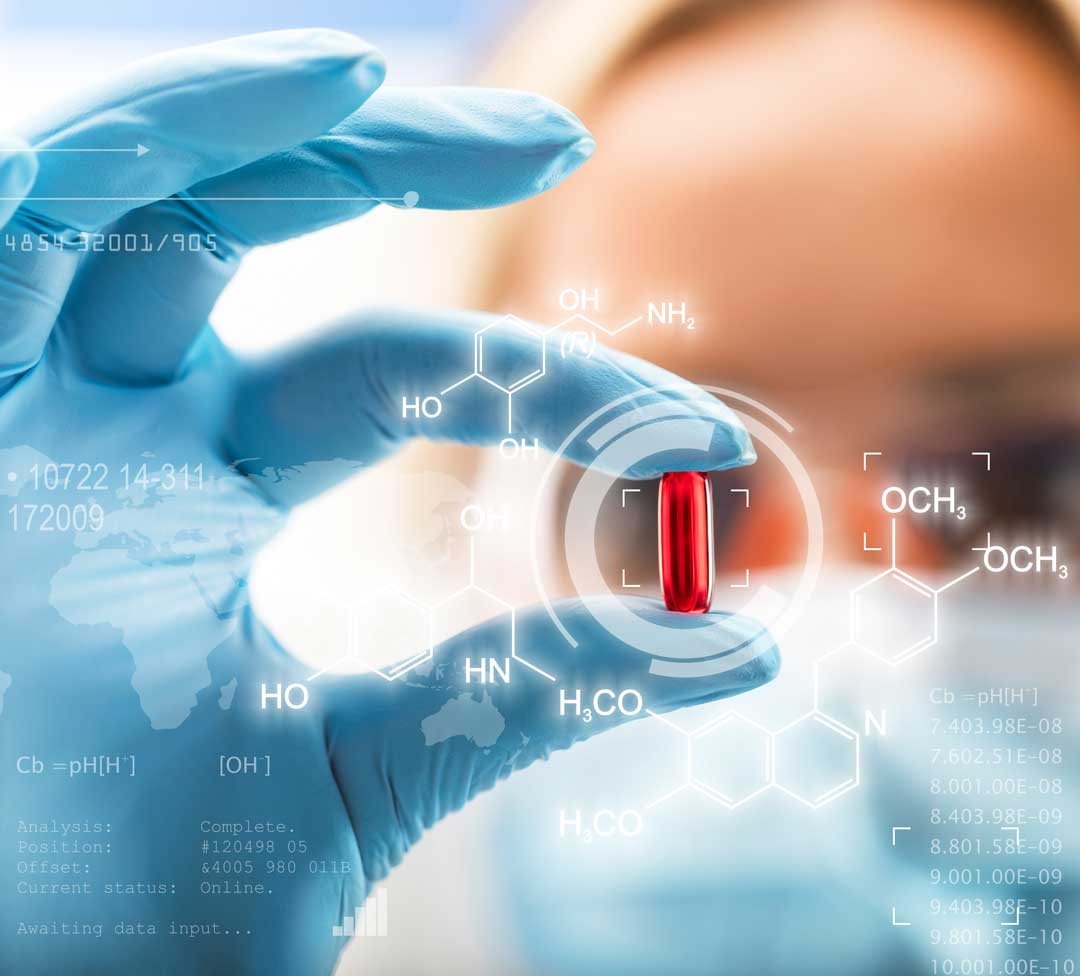 scientist holding a red transparent pill with futuristic scientific air interface with chemical formulas and research data in the foreground