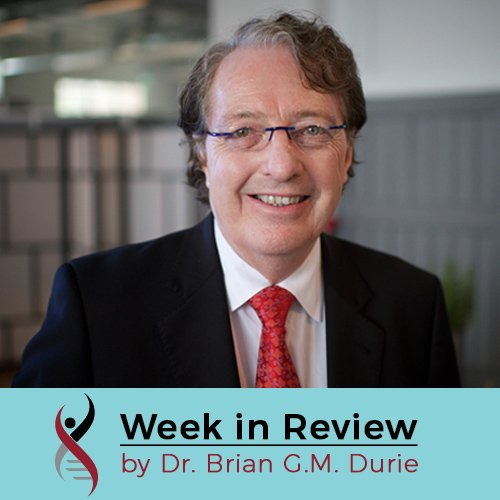 "Headshot of Dr. Brian G.M. Durie with overlaid text myeloma blog title ""Week in Review"""