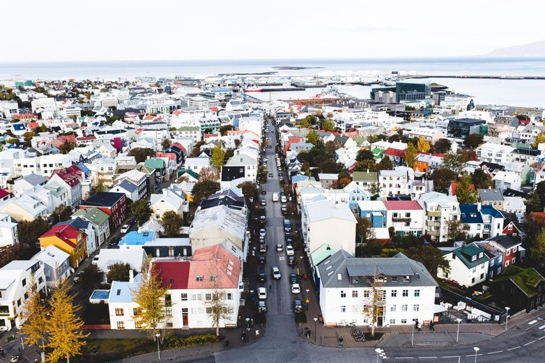 Bird eye view of a neighborhood in Iceland
