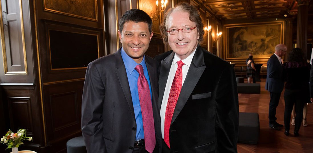 IMF Chairman and multiple myeloma expert Dr. Brian G.M. Durie poses with Dr. S. Vincent Rajkumar