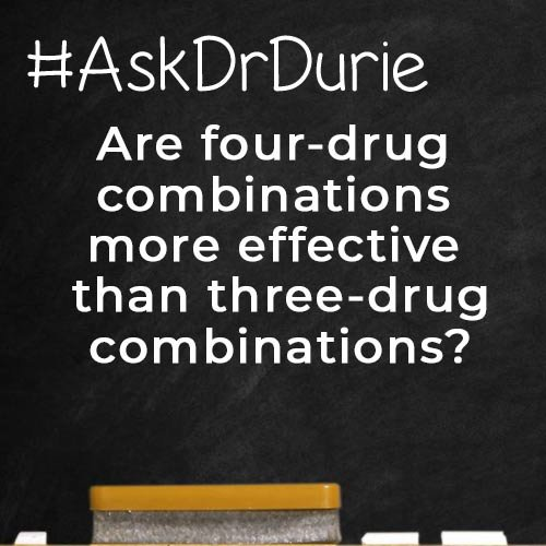 ask dr durie video sq, four drug combo instead of three drug combo