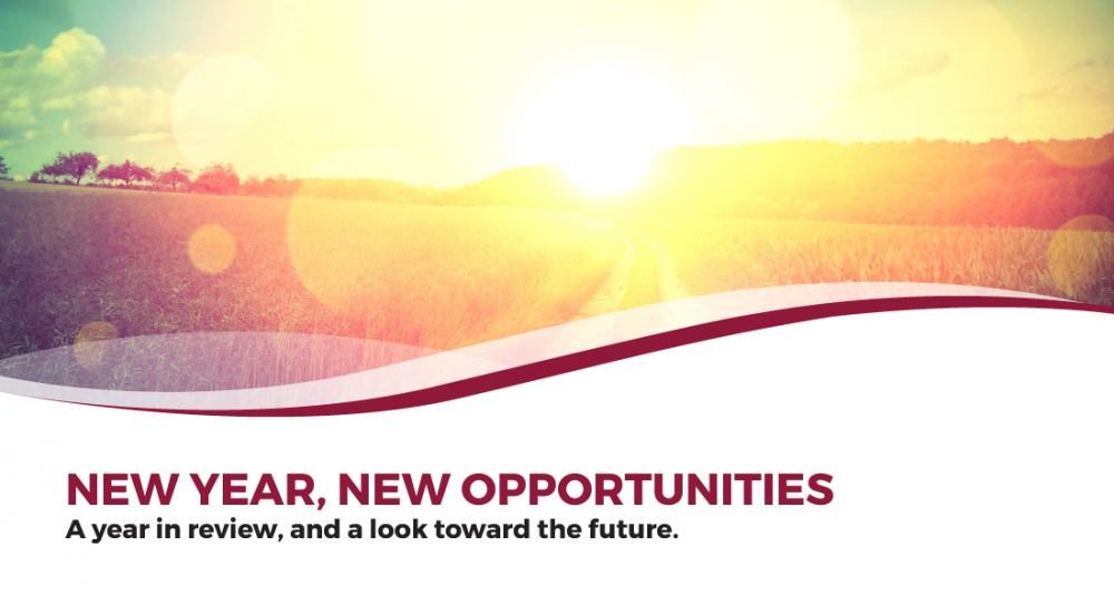 sun setting in the horizon with text overlay: New Year, New Opportunities