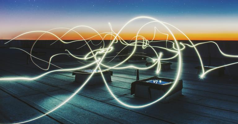 Rooftop, twilight, light blurs
