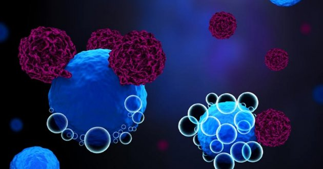 Depiction of CAR T-cell therapy binding to a myeloma cell