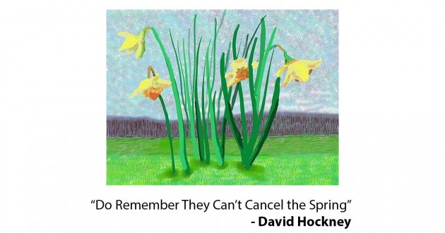 """Do They Remember They Can't Cancel the Spring?"" a painting by David Hockney"