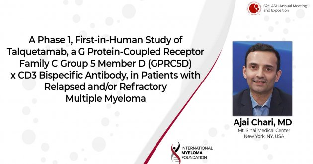 First Data from the Phase 1 Study of the GPRC5DxCD3 Bispecific Talquetamab in Patients with Relapsed or Refractory Multiple Myeloma