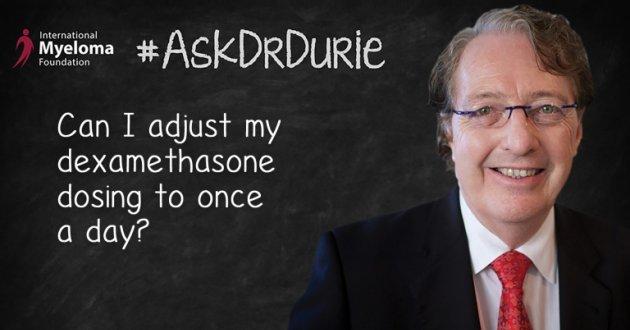 Video still of Dr. Durie addressing dexamethasone dosing