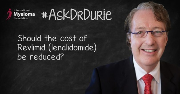 """Video still of Dr. Brian G.M. Durie on chalkboard backdrop with text overlay: """"Should the cost of Revlimid (lenalidomide) be reduced?"""""""
