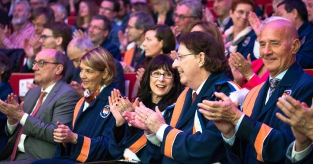 Dr. Brian G.M. Durie and Susie Durie at University of Brussels Honorary Doctorate ceremony