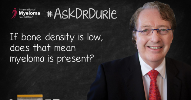 "Video still of Dr. Brian G.M. Durie with chalkboard backdrop and text overlay: ""If bone density is low, does that mean myeloma is present?"""