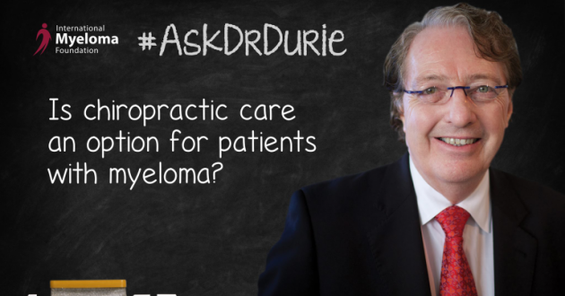 "Video Still of Dr. Brian G.M. Durie with chalkboard backdrop and text overlay: ""Is chiropractic care an option for patients with myeloma?"""