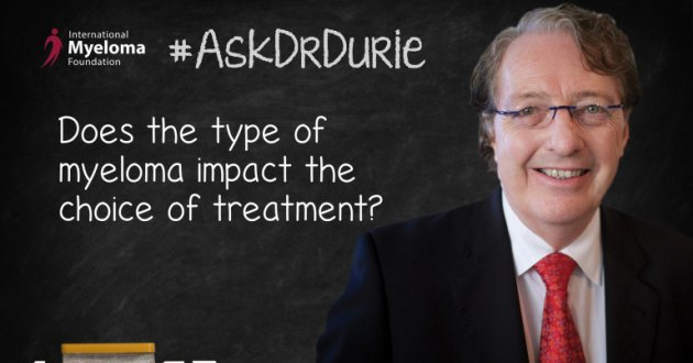 """Video still of Dr. Brian G.M. Durie with a chalkboard backdrop and text overlay of """"Does the type of myeloma impact the choice of treatment?"""""""