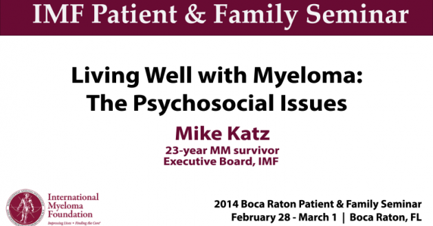 BOCA PNF 2014: Living Well with Myeloma: The Psychosocial Issues banner