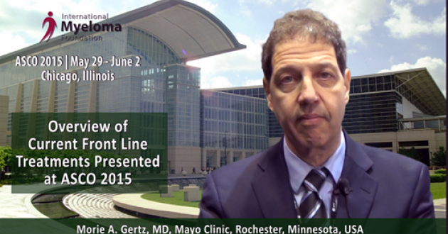 Dr. Morie Gertz Overview on Frontline Therapies presented at ASCO 2015