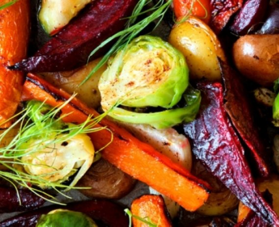 Mixed assortment of roasted vegetables