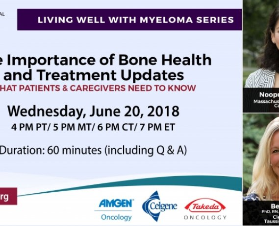 Importance of Bone Health and Treatment Updates text with images of Beth Faiman and Dr. Noopur Raje