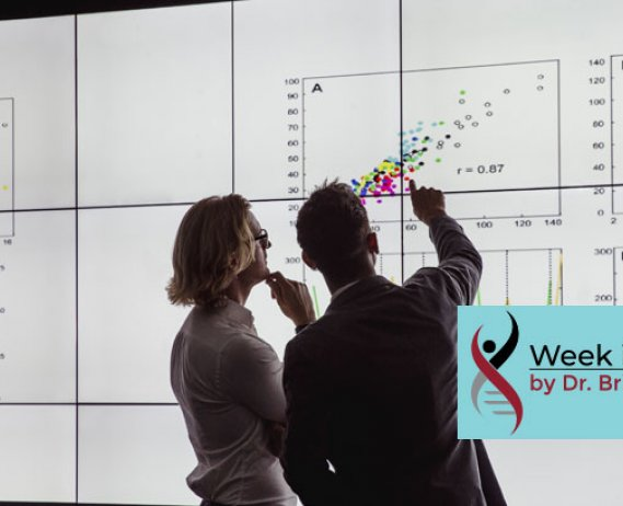 People Viewing Large Screen with Line Graphs and Scatterplots