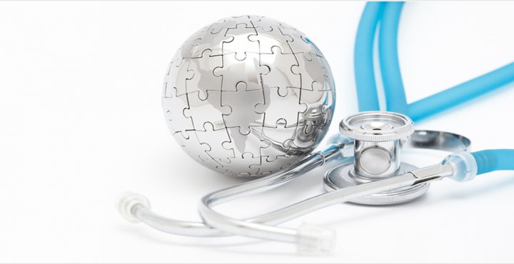 globe as a puzzle and stethoscope