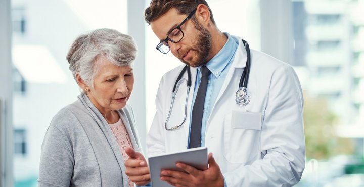 patient consulting with doctor