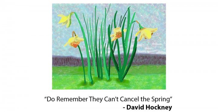 """""""Do They Remember They Can't Cancel the Spring?"""" a painting by David Hockney"""
