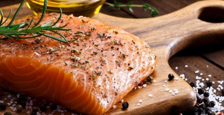 salmon, seafood on cutting board