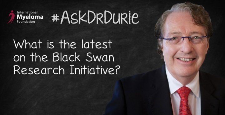 """Video still of Dr. Brian G.M. Durie  against chalkboard backdrop with text overlay of """"What is the latest on the Black Swan Research Initiative?"""""""