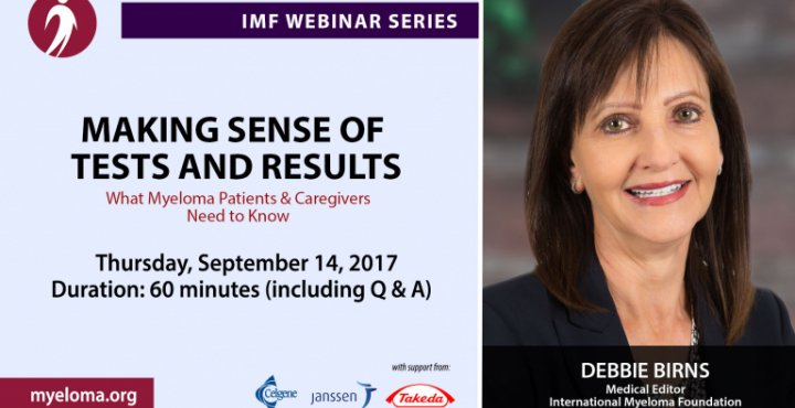 """IMF's Debbie Birns and Dr. Rafat Abonour for a """"Living Well with Myeloma"""" webinar on Making Sense of Tests and Results."""