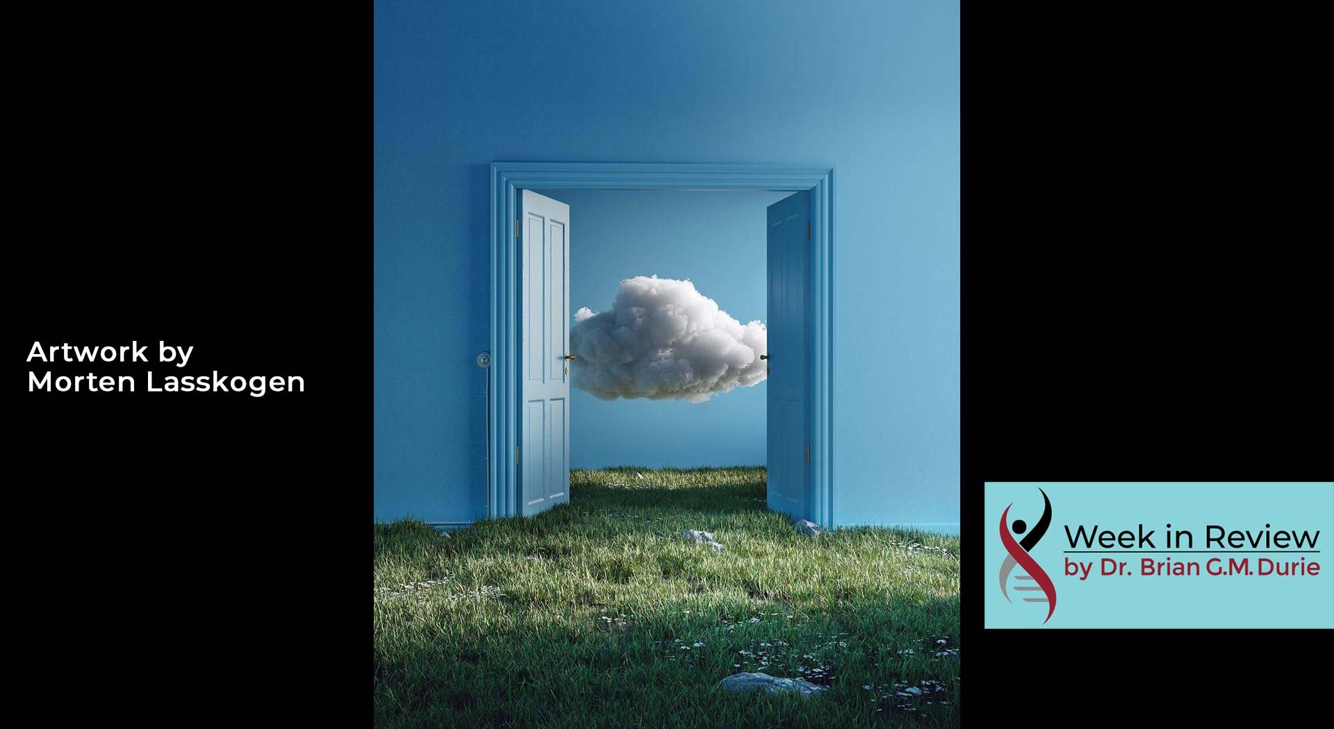 A cloud behind an open blue door artwork by Morten Lasskogen