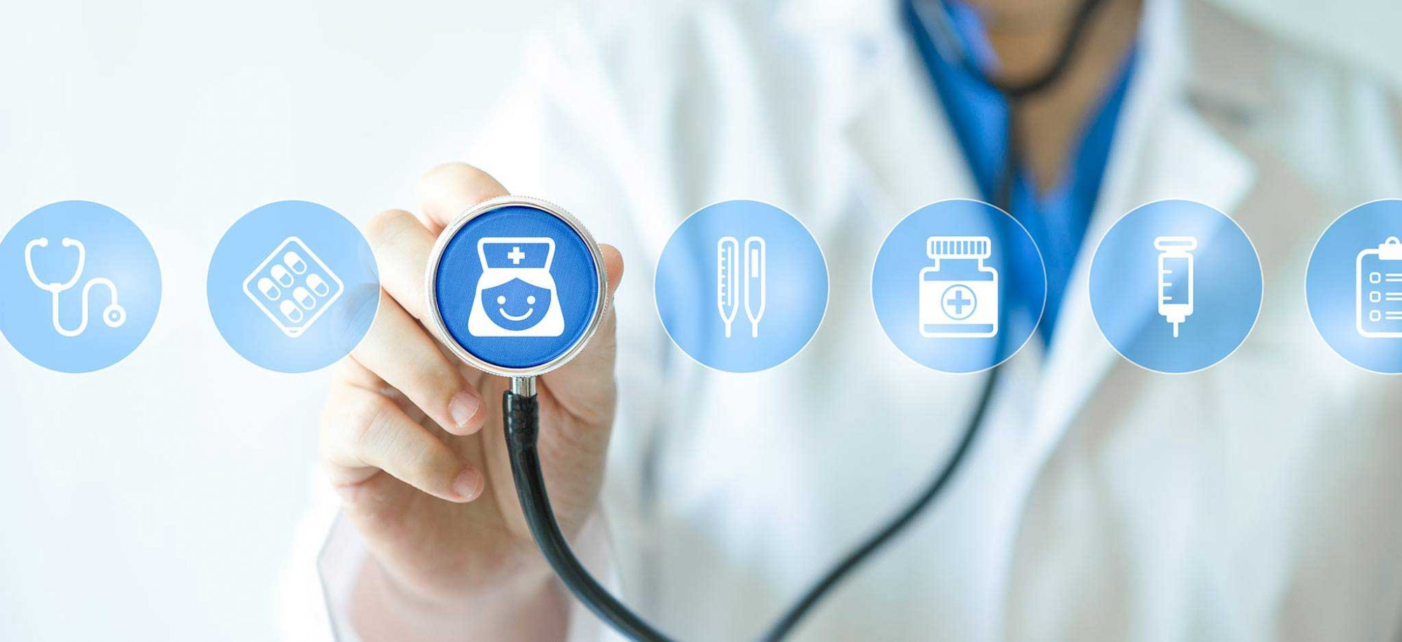 A doctor holds a stethoscope over a clip art icon of a nurse