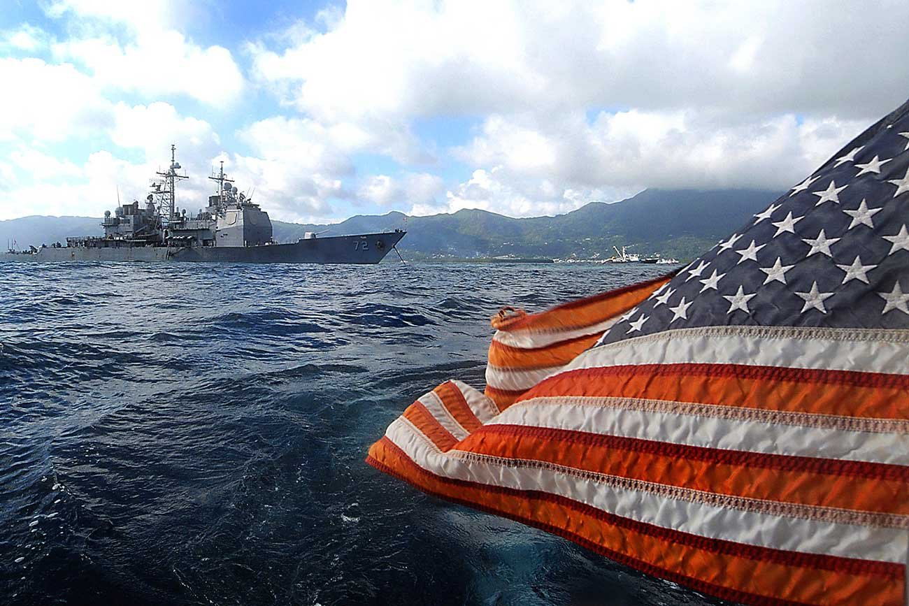 us flag and battleship