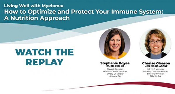 banner for replay of living well with myeloma webinar on nutrition