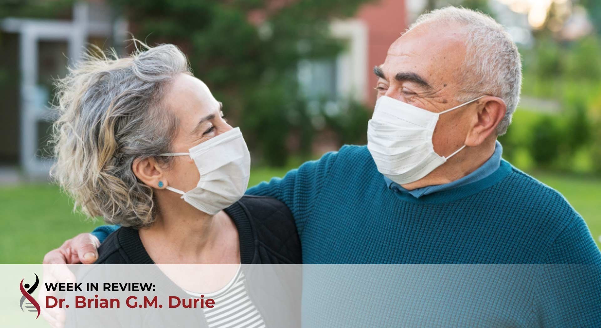 Couple are wearing face masks outdoors