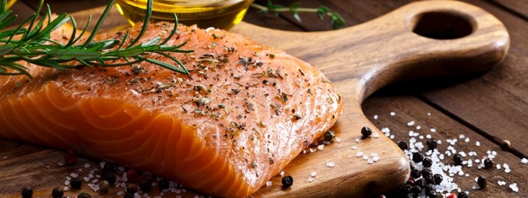 salmon, seafood on cutting board