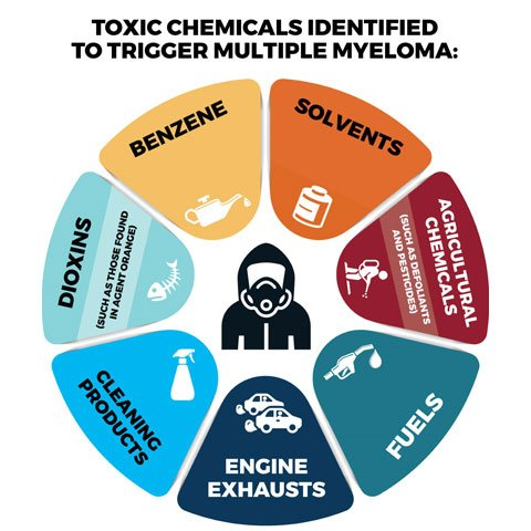 chart showing what toxic chemicals are known to trigger multiple myeloma