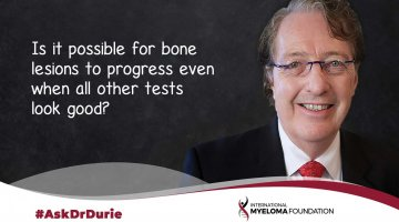 Is it possible for bone lesions to progress even when all other tests look good?