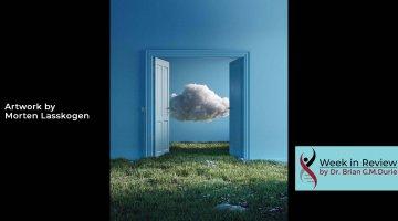 A cloud behind an open blue door artwork by Morten Lasskogen