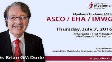 Myeloma Updates 2016: Post ASCO/EHA/IMWG text with image of Dr. Durie