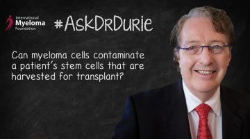 Video still of Dr. Brian G.M. on chalkboard backdrop with text overlay: Can myeloma cells contaminate a patient's stem cells that are harvested for transplant?