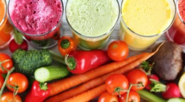 An assortment of vegetables and vegetable juices