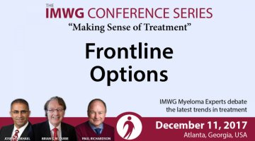 Drs. Brian G.M. Durie, Joseph Mikhael, and Paul Richardson discuss Frontline Options for myeloma during IMWG at ASH 2017