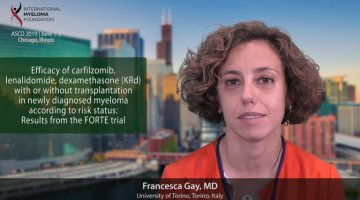 title card for Dr. Francesca Gay's ASCO 2019 abstract
