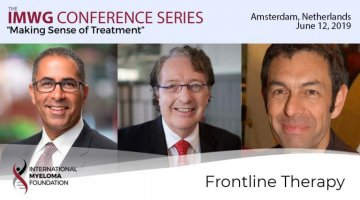 title card for IMWG Conference Series Amsterdam 2019 Frontline Therapy